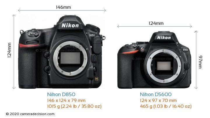 Nikon D850 vs Nikon D5600 Camera Size Comparison - Front View
