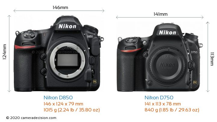 Nikon D850 vs Nikon D750 Camera Size Comparison - Front View