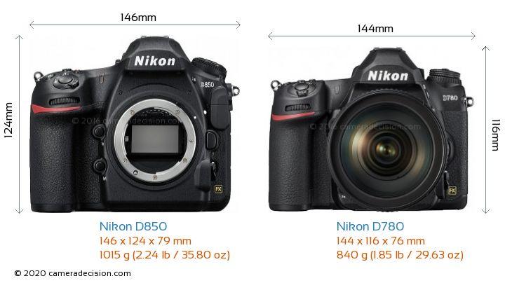 Nikon D850 vs Nikon D780 Camera Size Comparison - Front View
