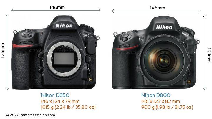 Nikon D850 vs Nikon D800 Camera Size Comparison - Front View