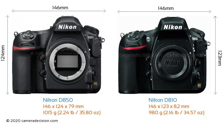 Nikon D850 vs Nikon D810 Camera Size Comparison - Front View