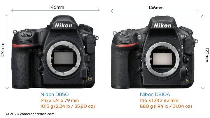 Nikon D850 vs Nikon D810A Camera Size Comparison - Front View