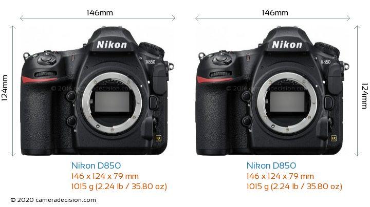 Nikon D850 vs Nikon D850 Camera Size Comparison - Front View
