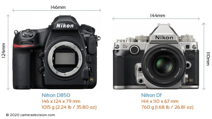 Nikon D850 vs Nikon Df Camera Size Comparison - Front View