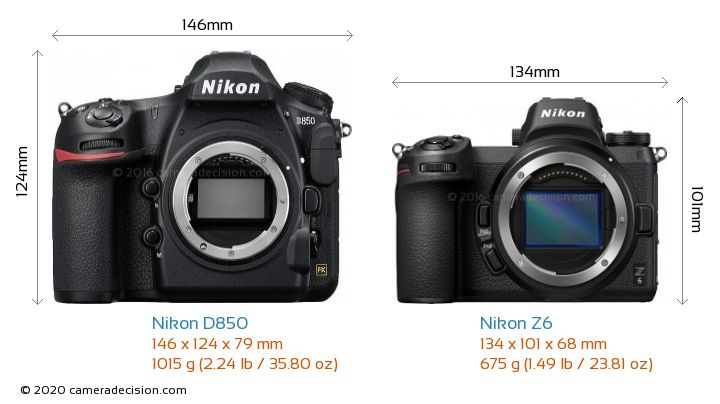 Nikon D850 vs Nikon Z 6 Camera Size Comparison - Front View