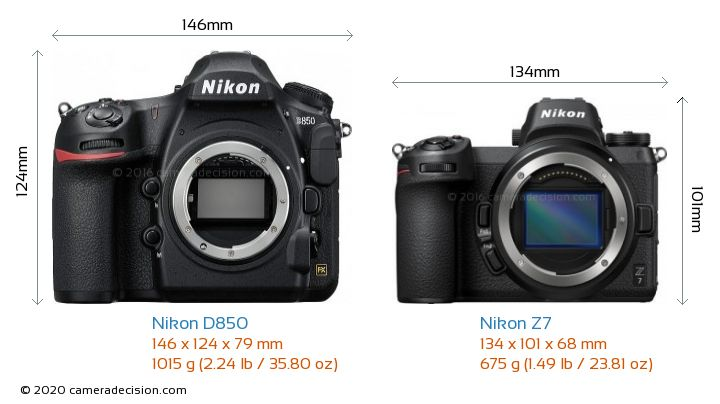 Nikon D850 vs Nikon Z 7 Camera Size Comparison - Front View