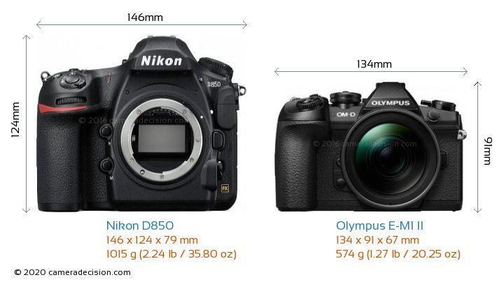 Nikon D850 vs Olympus E-M1 II Camera Size Comparison - Front View