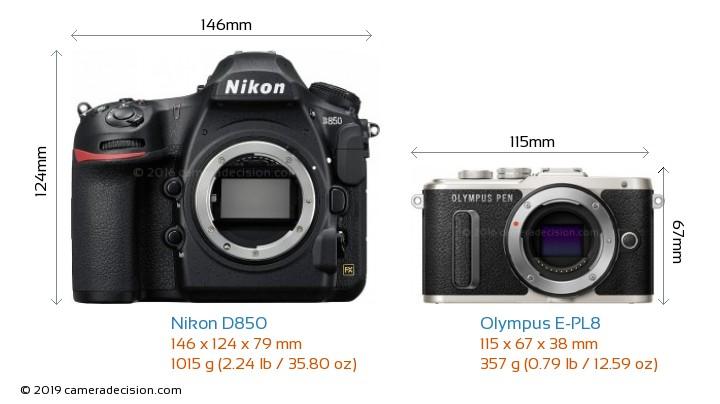 Nikon D850 vs Olympus E-PL8 Camera Size Comparison - Front View