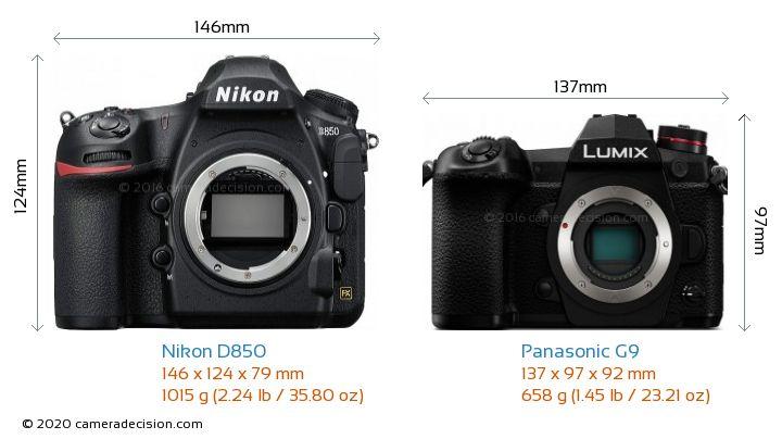 Nikon D850 vs Panasonic G9 Camera Size Comparison - Front View