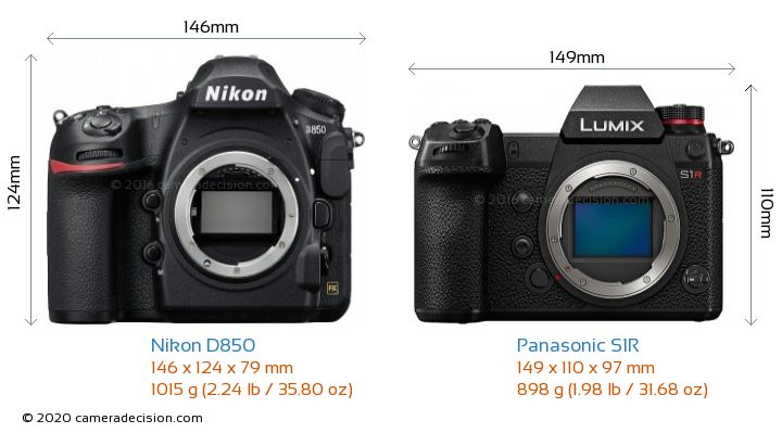 Nikon D850 vs Panasonic S1R Camera Size Comparison - Front View