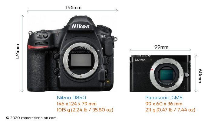 Nikon D850 vs Panasonic GM5 Camera Size Comparison - Front View