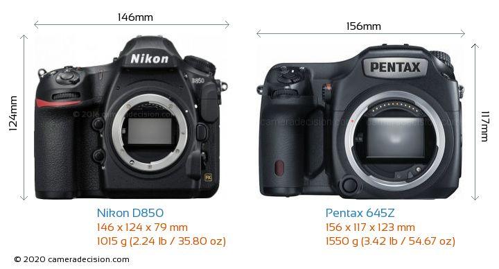 Nikon D850 vs Pentax 645Z Camera Size Comparison - Front View