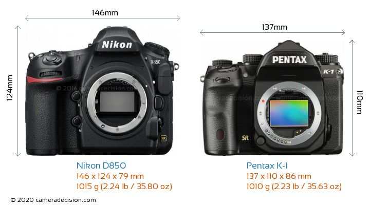 Nikon D850 vs Pentax K-1 Camera Size Comparison - Front View