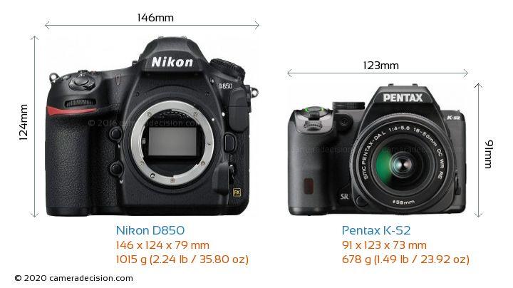 Nikon D850 vs Pentax K-S2 Camera Size Comparison - Front View