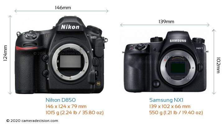 Nikon D850 vs Samsung NX1 Camera Size Comparison - Front View