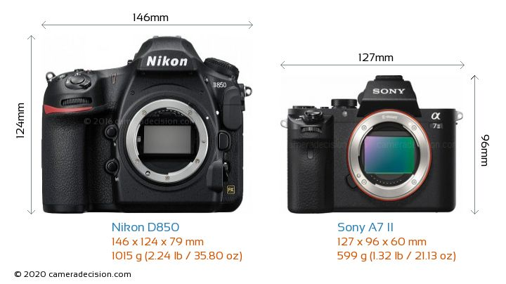 Nikon D850 vs Sony A7 II Camera Size Comparison - Front View