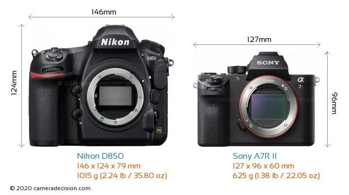 Nikon D850 vs Sony A7R II Camera Size Comparison - Front View