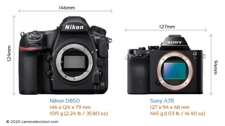 Nikon D850 vs Sony A7R Camera Size Comparison - Front View