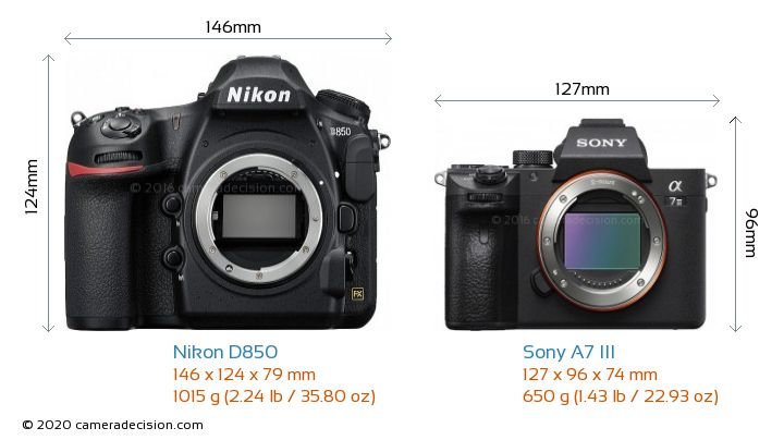 Nikon D850 vs Sony A7 III Camera Size Comparison - Front View
