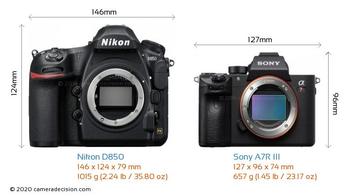 Nikon D850 vs Sony A7R III Camera Size Comparison - Front View
