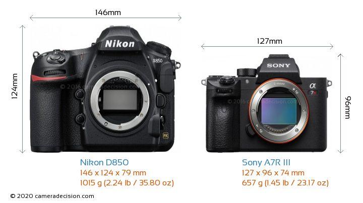 Nikon D850 vs Sony A7R III Camera Size Comparison - Front View