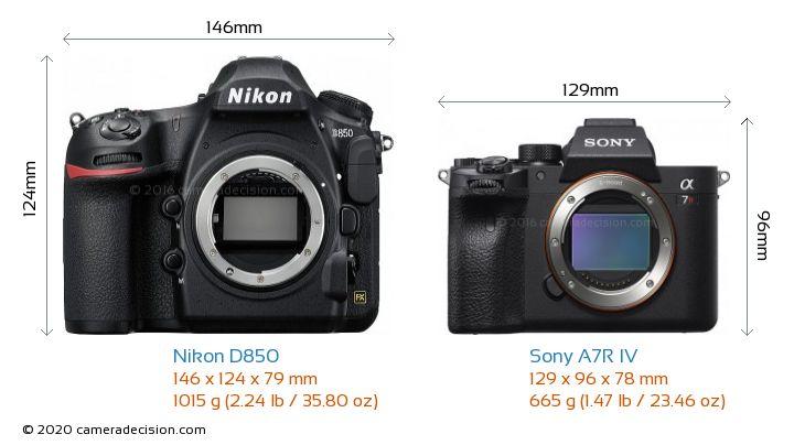 Nikon D850 vs Sony A7R IV Camera Size Comparison - Front View
