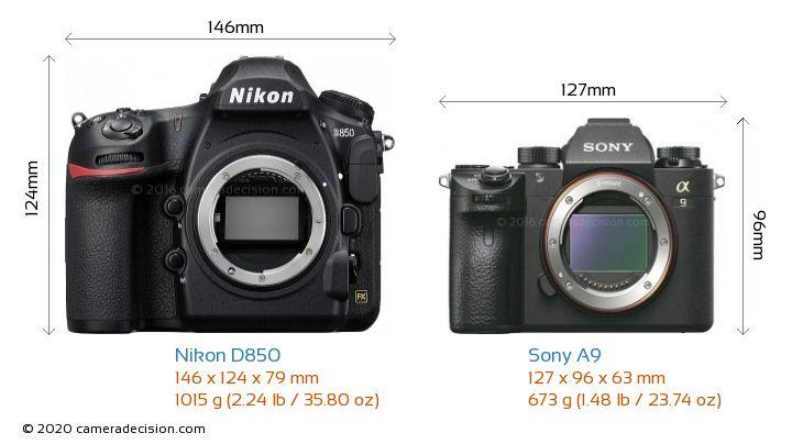 Nikon D850 vs Sony A9 Camera Size Comparison - Front View