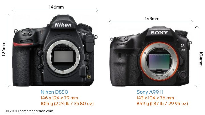 Nikon D850 vs Sony A99 II Camera Size Comparison - Front View