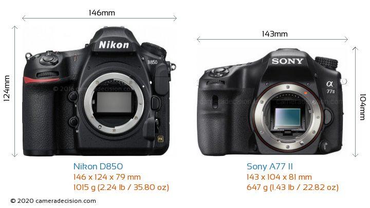 Nikon D850 vs Sony A77 II Camera Size Comparison - Front View