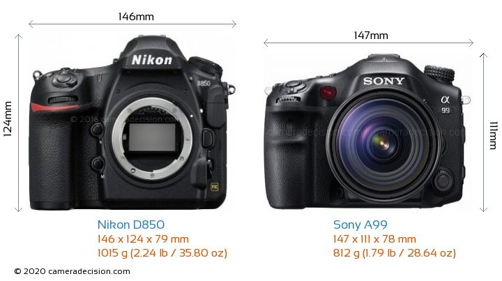 Nikon D850 vs Sony A99 Camera Size Comparison - Front View