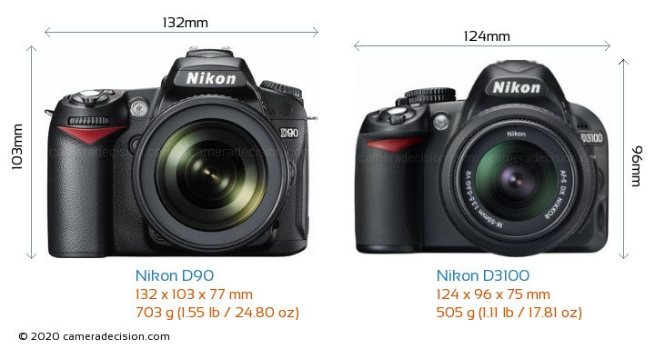 Nikon D90 vs Nikon D3100 Camera Size Comparison - Front View