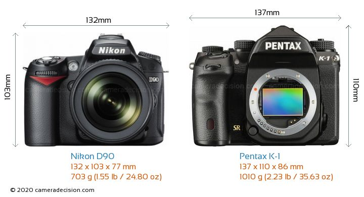 Nikon D90 vs Pentax K-1 Camera Size Comparison - Front View