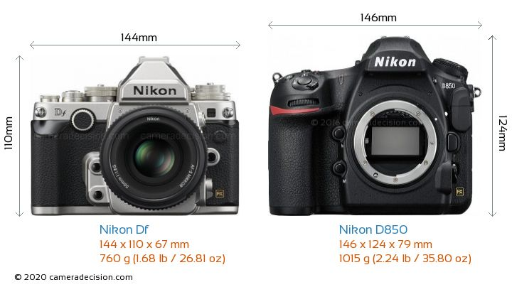 Nikon Df vs Nikon D850 Camera Size Comparison - Front View