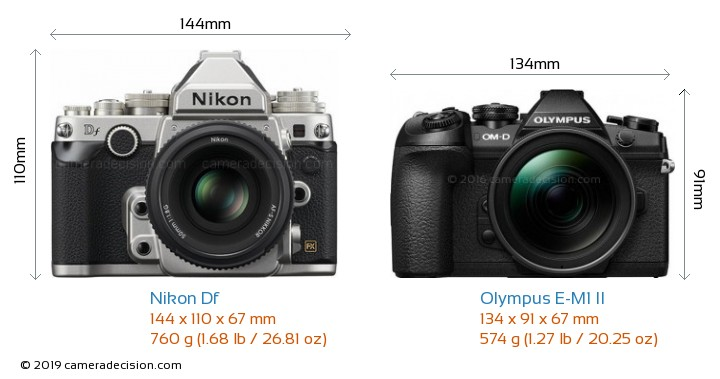 Nikon Df vs Olympus E-M1 II Camera Size Comparison - Front View
