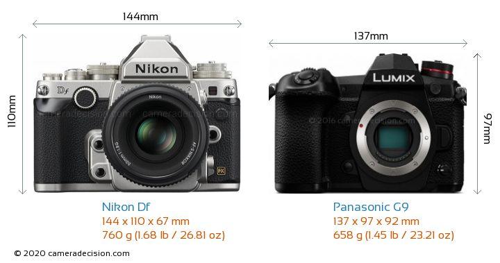 Nikon Df vs Panasonic G9 Camera Size Comparison - Front View
