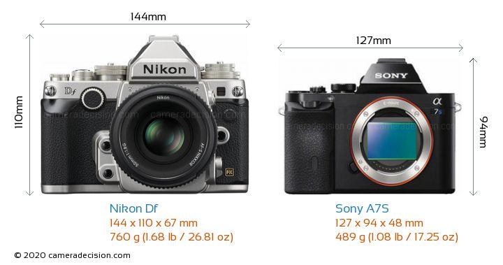 Nikon Df vs Sony A7S Camera Size Comparison - Front View