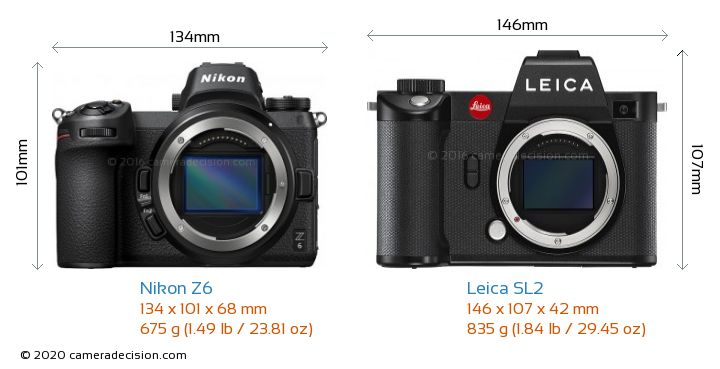 Nikon Z6 vs Leica SL2 Camera Size Comparison - Front View