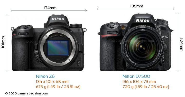Nikon Z6 vs Nikon D7500 Camera Size Comparison - Front View