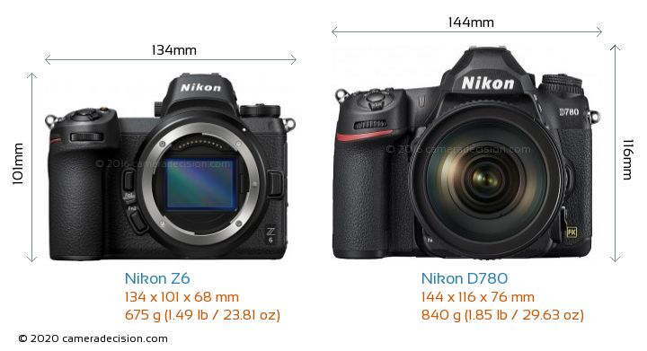 Nikon Z6 vs Nikon D780 Camera Size Comparison - Front View
