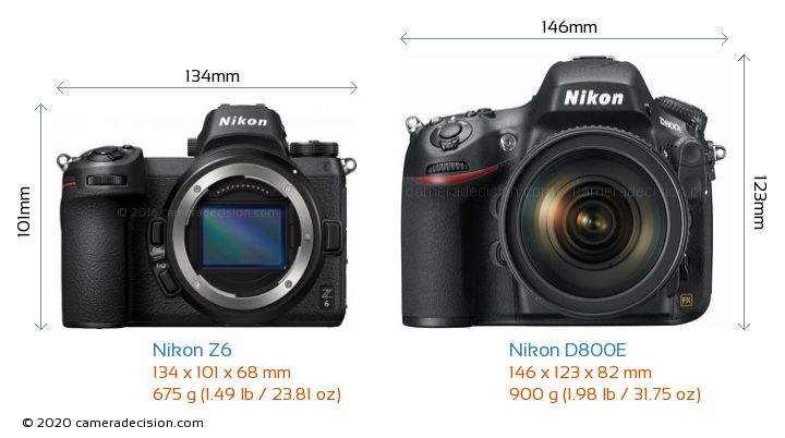 Nikon Z 6 vs Nikon D800E Camera Size Comparison - Front View