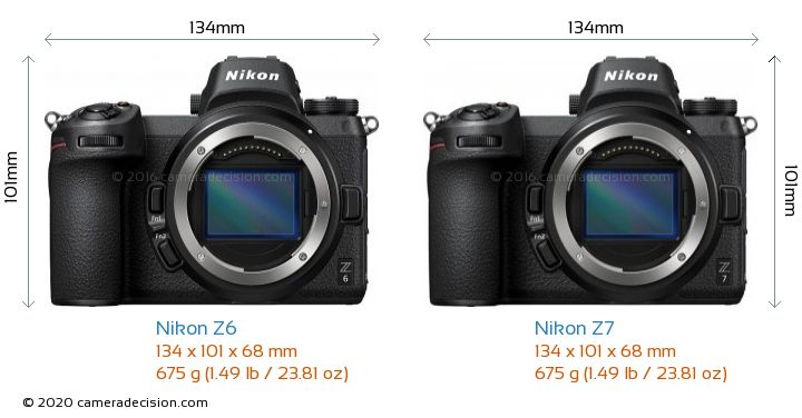 Nikon Z 6 vs Nikon Z 7 Camera Size Comparison - Front View