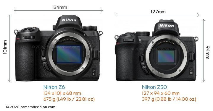 Nikon Z6 vs Nikon Z50 Camera Size Comparison - Front View
