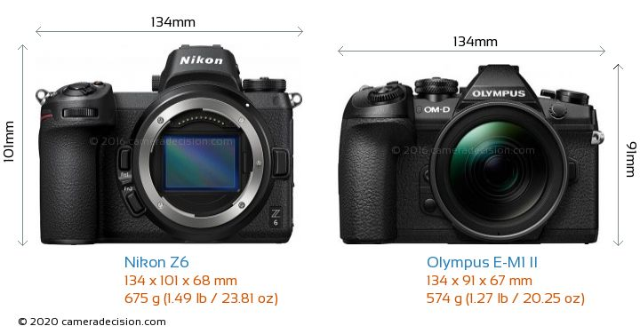 Nikon Z6 vs Olympus E-M1 II Camera Size Comparison - Front View