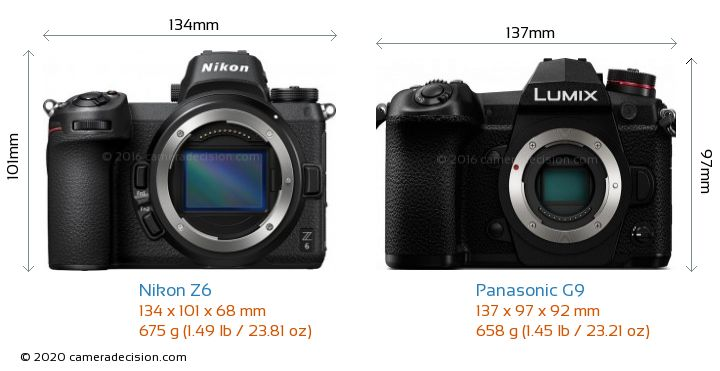 Nikon Z 6 vs Panasonic G9 Camera Size Comparison - Front View