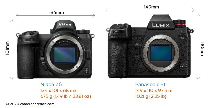 Nikon Z6 vs Panasonic S1 Camera Size Comparison - Front View