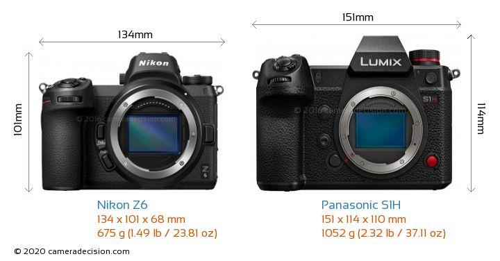 Nikon Z6 vs Panasonic S1H Camera Size Comparison - Front View