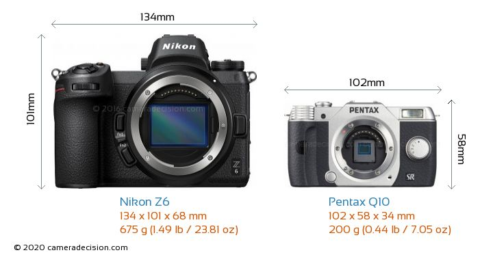 Nikon Z6 vs Pentax Q10 Camera Size Comparison - Front View