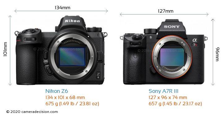 Nikon Z6 vs Sony A7R III Camera Size Comparison - Front View