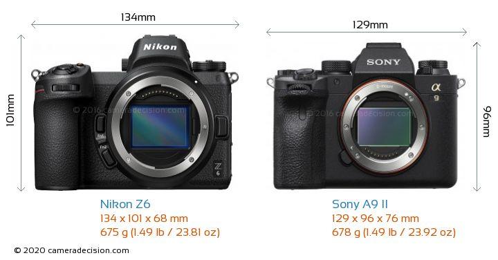 Nikon Z6 vs Sony A9 II Camera Size Comparison - Front View