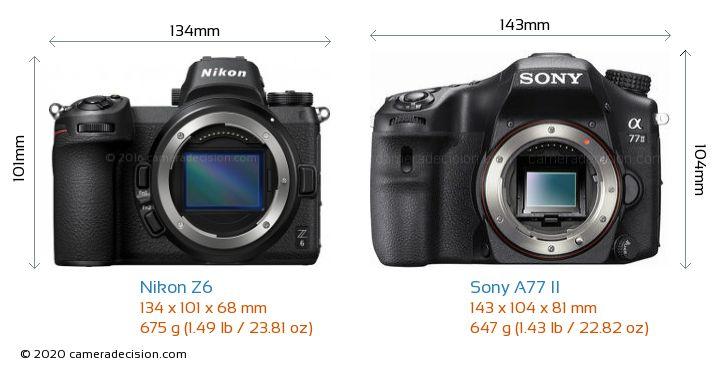 Nikon Z6 vs Sony A77 II Camera Size Comparison - Front View